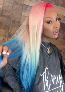 Pink, Blonde, and Blue Wig in Straight - Hair By Akoni