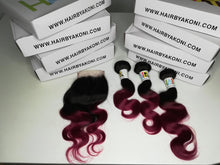 "2 Toned Ombre Closure 12"" Bundle - Hair By Akoni"