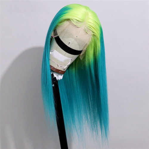 Lime Green and Turquoise Ombre in Straight Full Lace Wig - Hair By Akoni