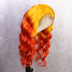 Yellow and Orange Ombre in Deep Wave Full Lace Wig - Hair By Akoni