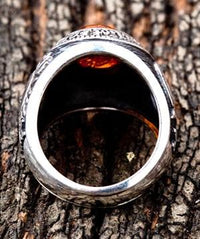 Amulet Amber Mens Ring-silverringsmens
