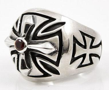 Biker Cross Ring-silverringsmens
