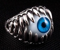 Blue Evil Eye Silver Ring-silverringsmens