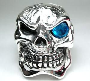 Blue Skull Heavy ring-silverringsmens