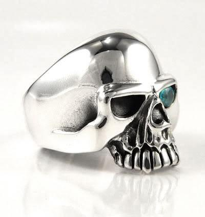 Blue Topaz Skull Ring-silverringsmens