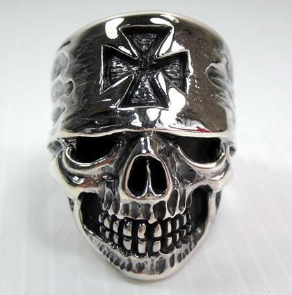 Cross Bandana Biker Skull Ring-silverringsmens