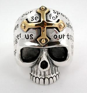 Cross Skull Ring-silverringsmens