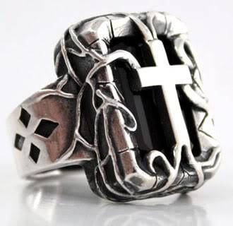Cross Sterling Silver Gothic Ring-silverringsmens