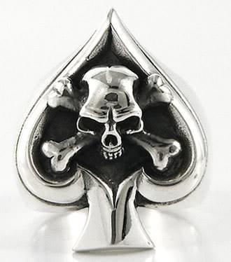 Crossbone skull mens ring-silverringsmens