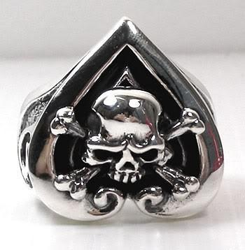 Crossbones Skull Heart Ace Rings-silverringsmens