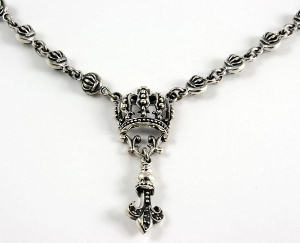 Crown Sterling Silver Necklaces-silverringsmens