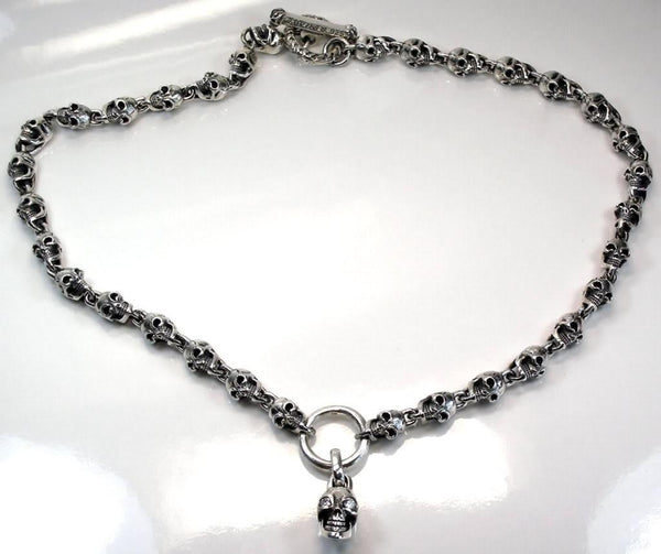 Diamond Biker Skull Necklaces-silverringsmens