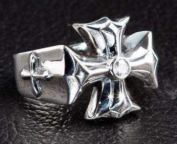 Diamond Cross Ring-silverringsmens