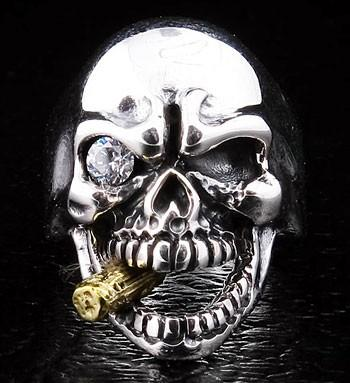Diamond Eye Mafia Skull Ring-silverringsmens