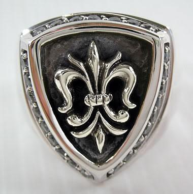 Diamond Fleur De Lis Mens Rings-silverringsmens