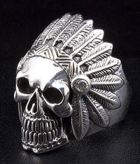 Diamond Indian Biker Skull Ring-silverringsmens