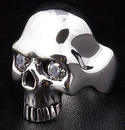 Diamond Robot Skull Mens Ring-silverringsmens
