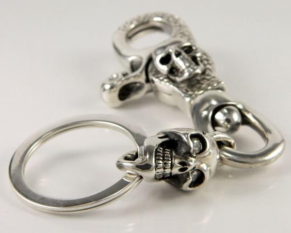Diamond Skull Key Chain-silverringsmens