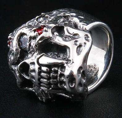 Diamond Skull Vampire Ring-silverringsmens