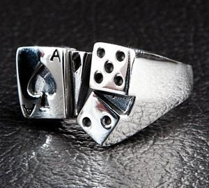 Dice Ace Spade Card Designer Silver Ring-silverringsmens