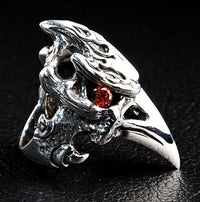 Dinosaur Hornbill Head Ring-silverringsmens