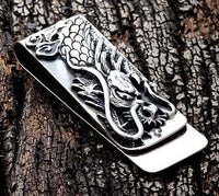 Engraved Dragon Silver Money Clip-silverringsmens
