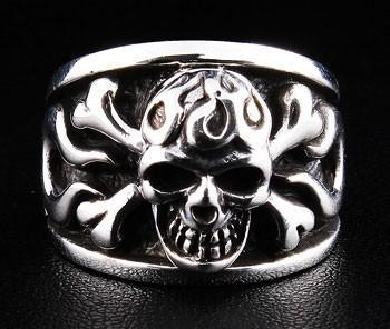 Flame Crossbones Ring-silverringsmens