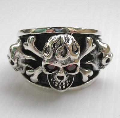 Flaming Crossbones Skull Silver Ring-silverringsmens