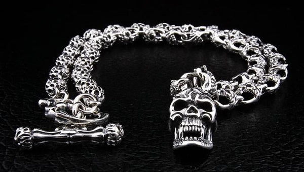 Flaming Skull Silver Necklace-silverringsmens