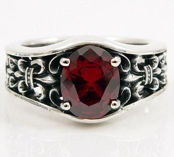 Garnet Fleur De Lis Mens Wedding Ring-silverringsmens