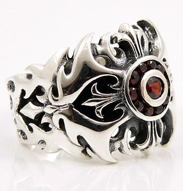 Garnet Tribal Cross Gothic Ring-silverringsmens