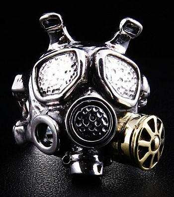Gas Mask Silver Mens Ring-silverringsmens