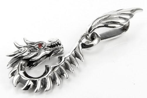 Gothic Dragon Pendant-silverringsmens