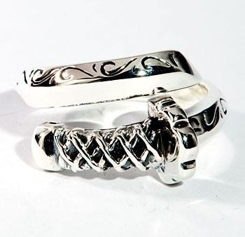 Japanese Samurai Sword Sterling Silver Ring-silverringsmens