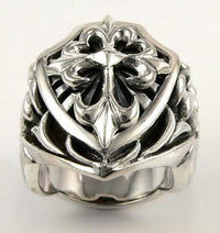 Knight Templar Heavy Biker Rings-silverringsmens