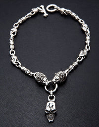 Lion Skull Silver Necklace-silverringsmens