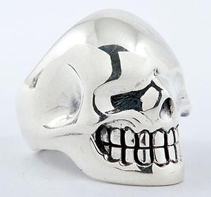 Metallic Biker Skull Ring-silverringsmens