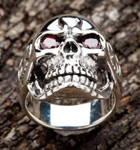 Red Eyes Skull Silver Rings-silverringsmens