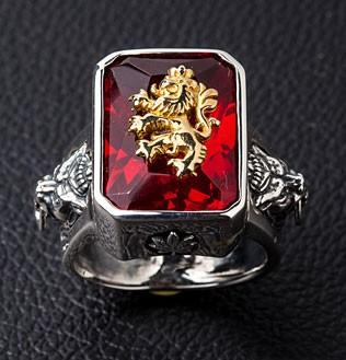 Red Stone Lion Ring-silverringsmens