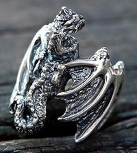 Silver Dragon Mens Rings-silverringsmens
