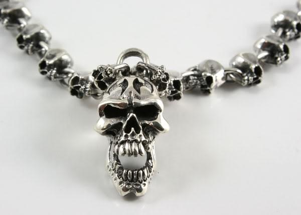 Silver Skull Necklace-silverringsmens
