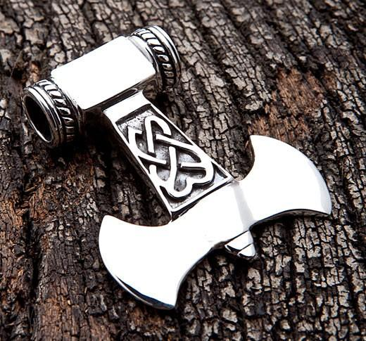 Silver Thors Hammer Necklace-silverringsmens