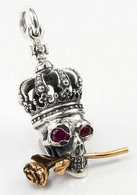 Skull and rose pendant-silverringsmens