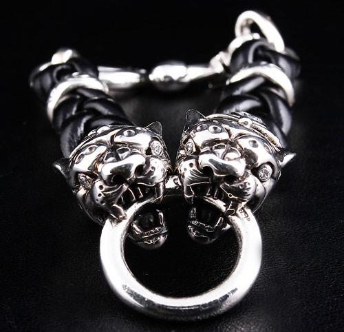 Tiger Leather Chain Bracelet-silverringsmens