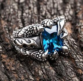 Topaz Flame Claw Ring-silverringsmens