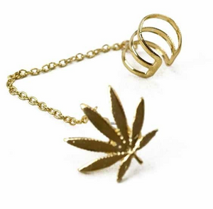 POT LEAF CUFF EARRING