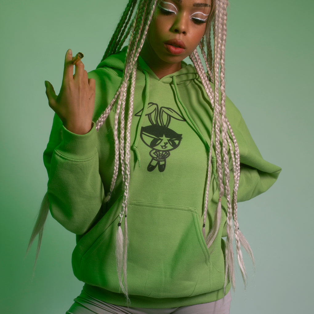 POWER PUFF BABE HOODIE - GREEN