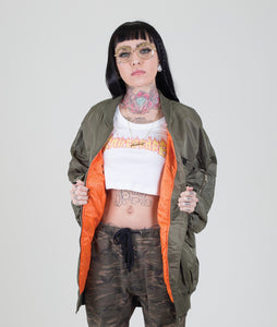 OVERSIZED DISTRESSED BOMBER JACKET - OLIVE