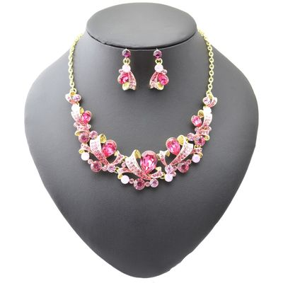 Colored crystal gemstones necklace earrings 2pcs set