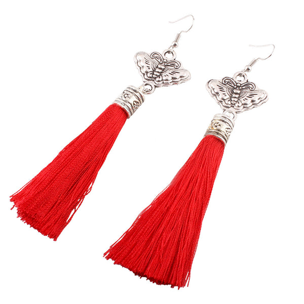 Butterfly tassel earrings